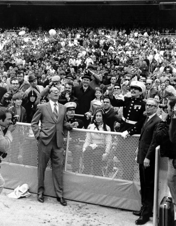 Marine veteran throwing out the first ball at Veterans Stadium.
