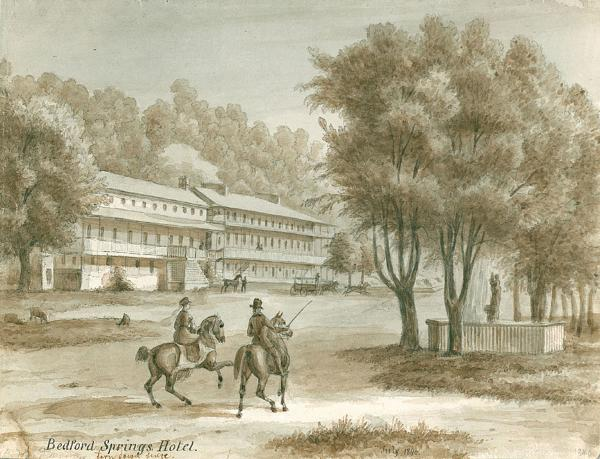 Pen and sepia ink on paper of the front exterior of the Hotel in the background of the image and two men on horse back in the foreground.