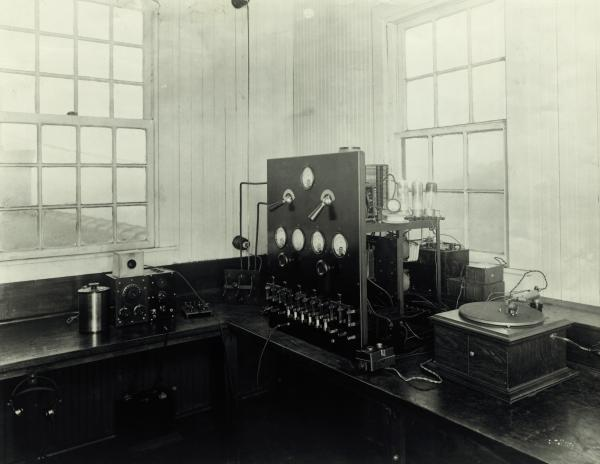 The original broadcast transmitter of KDKA, Pittsburgh, PA, circa 1920.