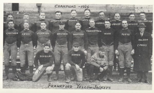 Team photo of the 1926 NFL champion Frankford Yellow Jackets.