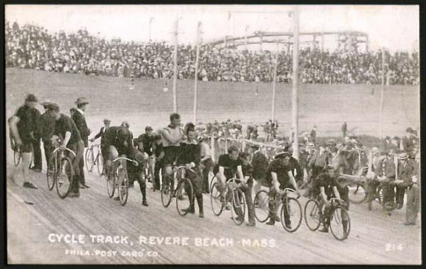 Starting line up of racers at the Boston six-day bicycle race at Revere Beach Cycling Track.