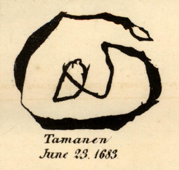Mark of Delaware Chief Tammany, 1683.