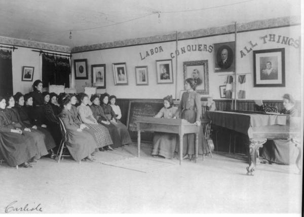 Debating class, Carlisle Indian School, Carlisle, Pennsylvania