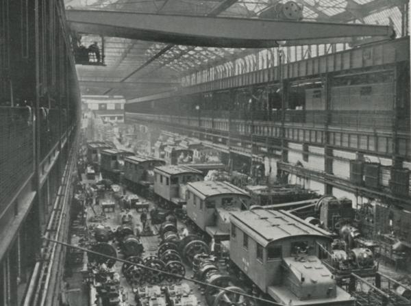 Interior factory photograph of Electric Locomotives under construction.