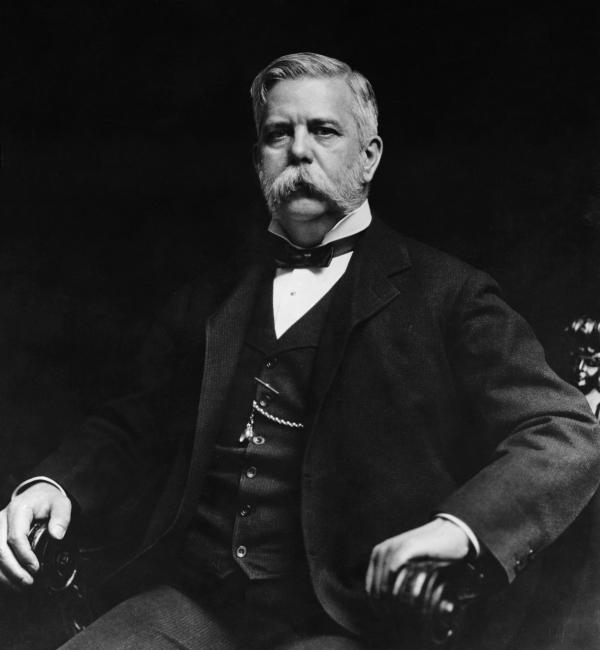 Black and white version of a portrait of George Westinghouse.