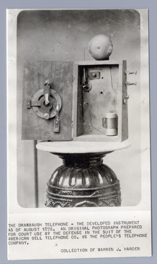 Photograph of the working model of Daniel Drawbaugh's Telephone