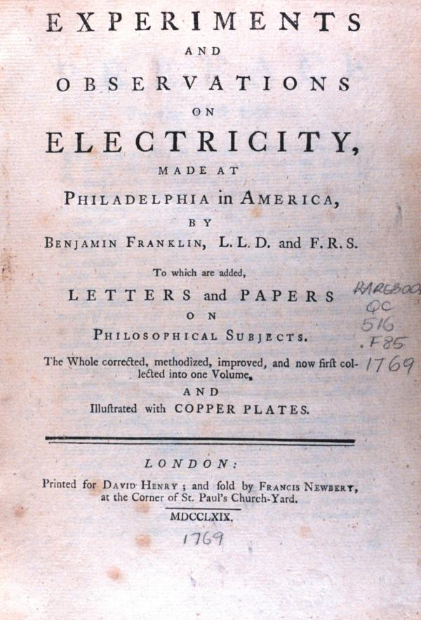 """Frontpiece of """"Experiments and observations on electricity ...."""" by Benjamin Franklin"""