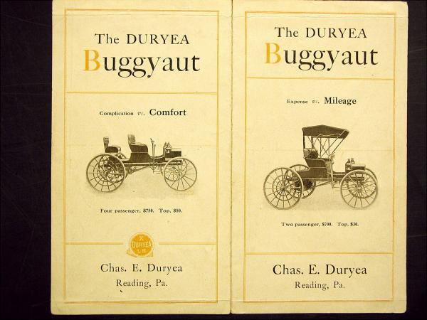 This brochure depicts two images of Buggyauts for sale. The four passenger image is shown topless and sells for $750.00. The top sells for $50.00. The image of the two passenger car is complete with top and sells for $700.00. The top adds $30.00 to the price.