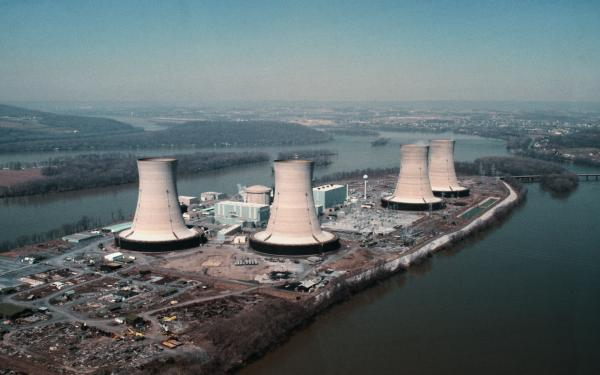 A color photograph of Three Mile Island Cooling Towers.