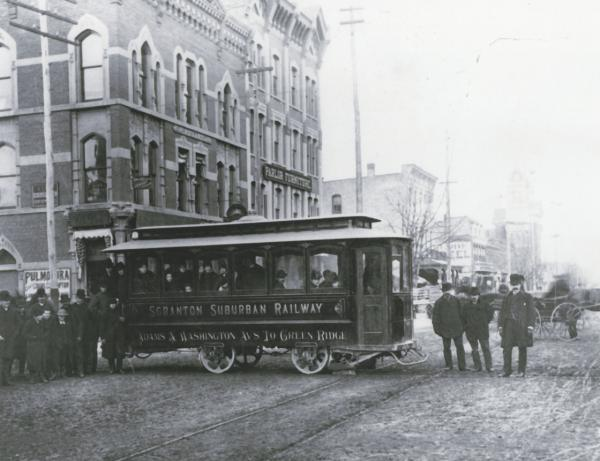 Passengers await service on a trolley.
