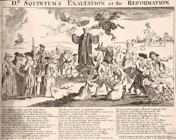 Cartoon showing Rev. George Whitefield standing on a three-legged stool, and preaching in the open air, an imp pouring inspiration through a clyster-pipe into his ear, a grotesque Fame, being a female evil-spirit, listens to his discourse with an ear-trumpet, and repeats it in an ordinary trumpet, the Devil clutches gold from under his stool, etc.