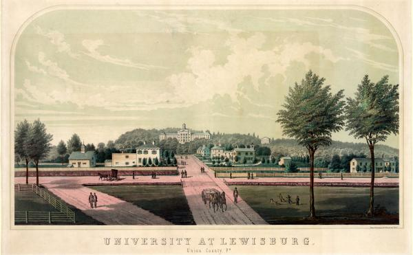 Print showing view of main buildings of Bucknell University in Lewisburg, Pennsylvania.