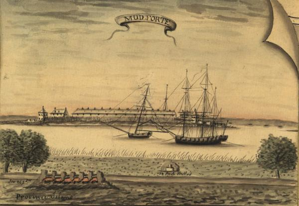 A watercolor painting of a view of the Delaware River, showing large square rigged ships anchored in front of a primitive fort.