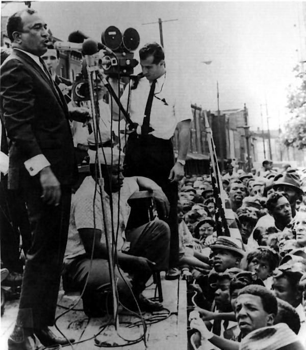 Attorney Cecil B. Moore addresses a group of civil rights protestors during the campaign to integrate Girard College, 1965.