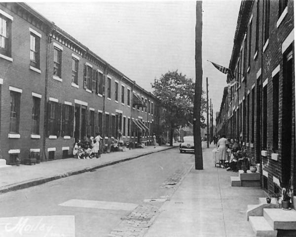 Scene of a North Philadelphia neighborhood adjacent to Girard College, 1945