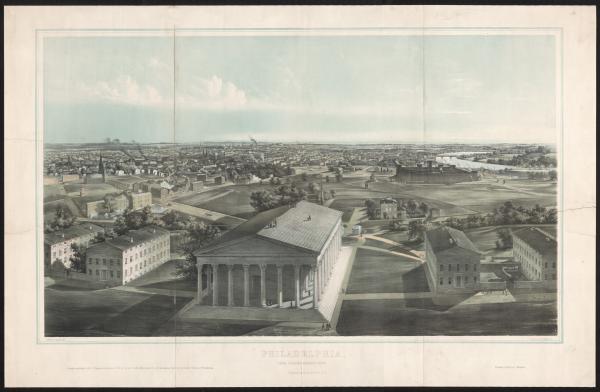 Birds eye view of Girard College and Philadelphia.