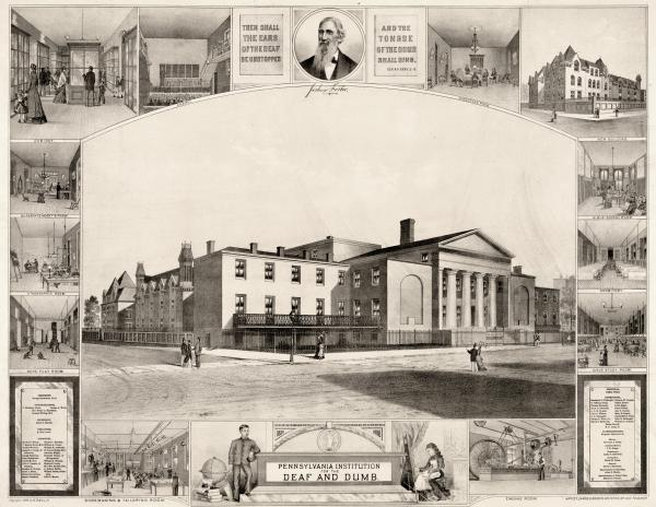 View of exterior of the institution surrounded by images of the dormitories, the chapel, the director's room and other interiors, and a head-and-shoulders portrait of Joshua Foster.