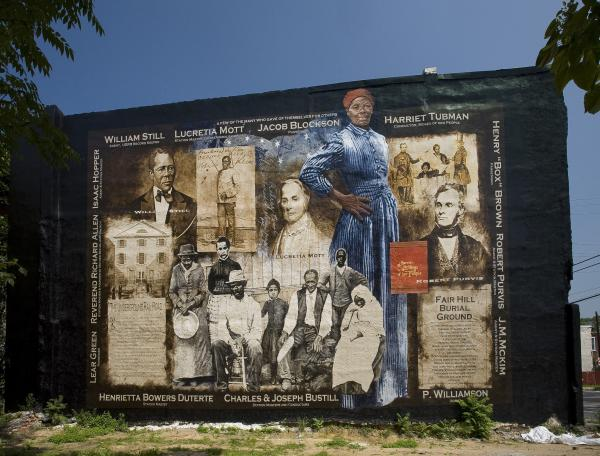 This mural celebrates the courageous work of Harriet Tubman and Philadelphian-Area Abolitionist who helped make freedom a reality for hundreds of slaves escaping to the North.