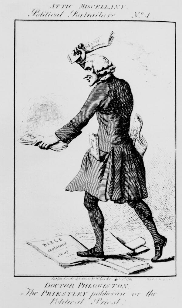 "Doctor Phlogiston, The Priestley politician or the Political Priest. This anti-Priestley cartoon depicts Priestley trampling on the Bible and burning documents representing English freedom. ""Essays on Matter and Spirit"", ""Gunpowder"", and ""Revolution Toasts"" extend from his pockets."
