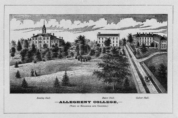 Pin and Ink of Bentley, Ruter, and Culver Halls