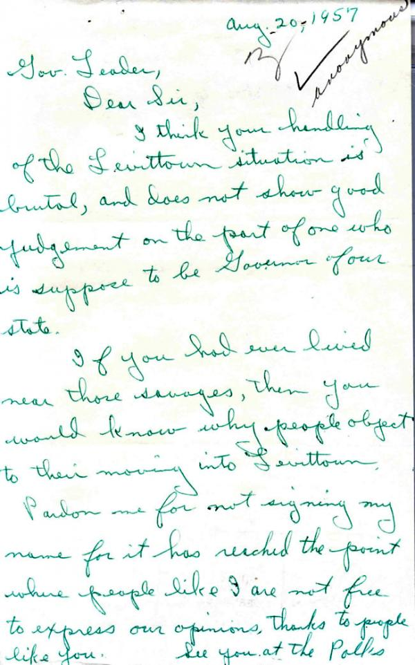 An anonymous hand-written letter written to Pennsylvania Governor Leader decrying his support of an African American family moving into Levittown.