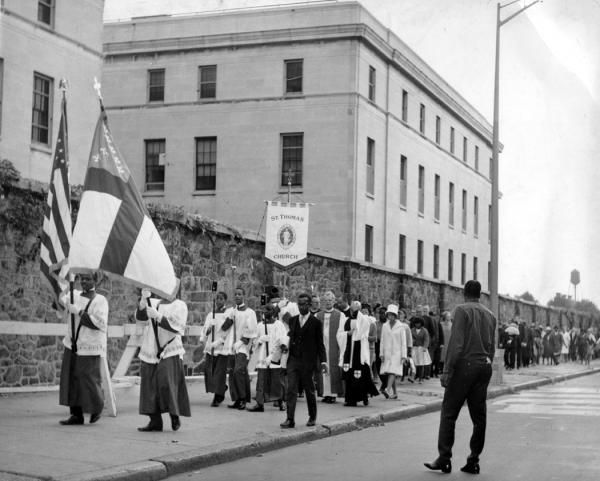 Procession Around the Girard College in Philadelphia, led by Members of the St. Thomas Episcopal Church 1965.