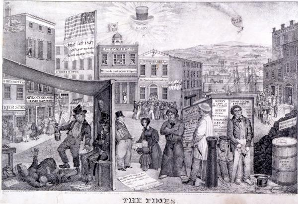 A commentary on the depressed state of the American economy, particularly in New York, during the financial panic of 1837.