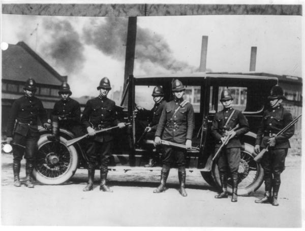 State troopers posed with riot guns, ready for a hurry call at Farrell, Pa., 1919.