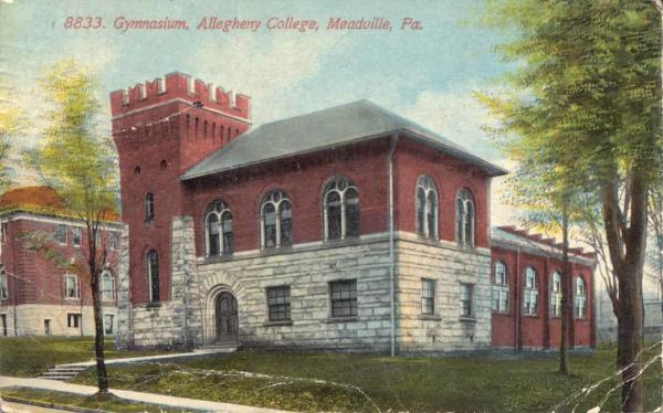 Exterior, front facade, Allegheny College Gymnasium, Meadville, Crawford County, PA, 1913.