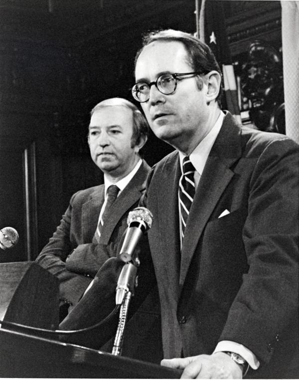 Photograph of Harold Denton with Governor Richard Thornburgh responding to questions concerning, the nation's worst commercial nuclear accident at Three Mile Island, March 29, 1979.