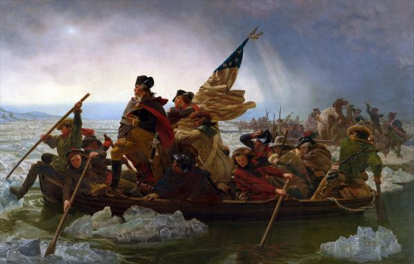 Oil on canvas of Washington and another soldier, who holds the American flag, standing in a boat, while other soldiers sit rowing, crossing the icy Delaware River.