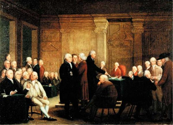 Oil on canvas of a jubilant crowd listening to the Reading of the Declaration of Independence.