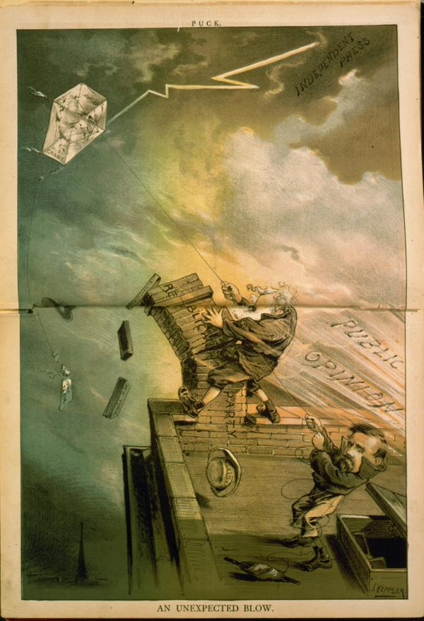 Here, the lightning bolt of the Independent Press strikes at the kite of Grant's candidacy, as the winds of Public Opinion knock down Conklin and Cameron's control of the national Republican party, depicted as a toppling chimney.