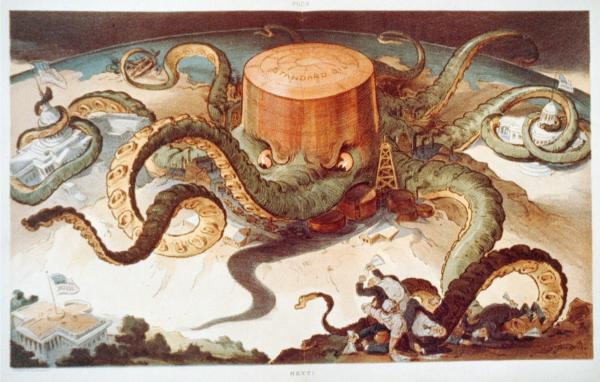 Political cartoon showing a Standard Oil tank as an octopus with many tentacles wrapped around the steel, copper, and shipping industries, as well as a state house, the U.S. Capitol, and one tentacle reaching for the White House.