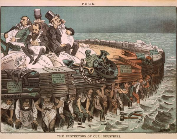 Cartoon showing Cyrus Field, Jay Gould, Cornelius Vanderbilt, and Russell Sage, seated on bags of millions, on large raft, and being carried by workers of various professions.