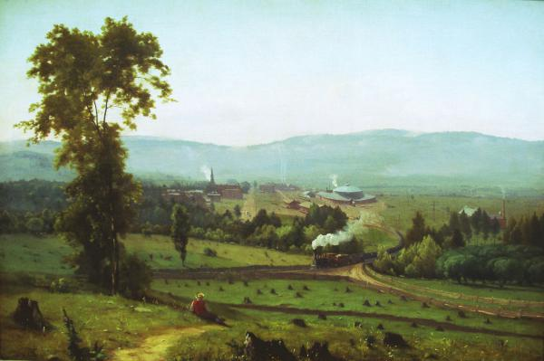Oil on canvas of the Lackawanna Valley being touched by the hands of progress as the train tracks map the landscape and a train passes through.