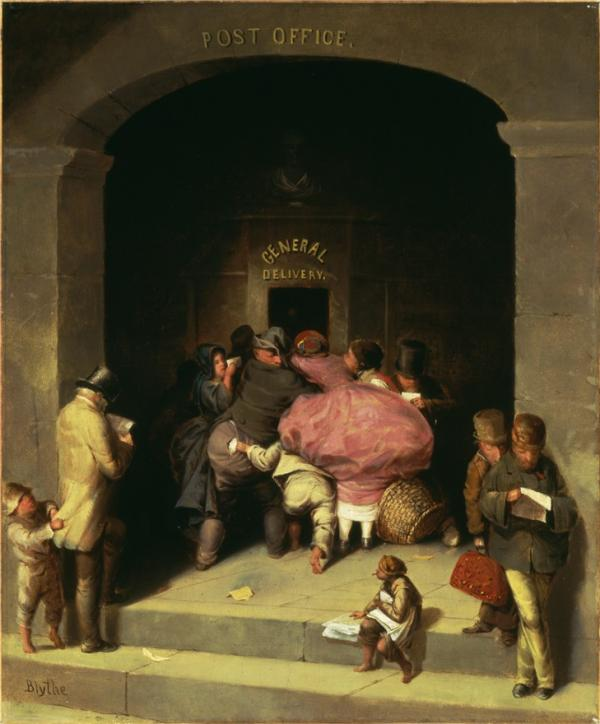 Oil on canvas of a large stone Post Office building, with a large arched entrance, depicts a crowded general delivery window as its central focus/ A lady in a pink hoop dress in the central figure as other patrons crowd the window.