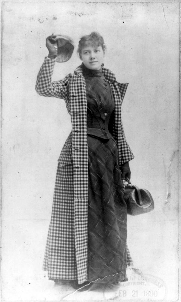 Journalist Nellie Bly in her travelling outfit, 1890