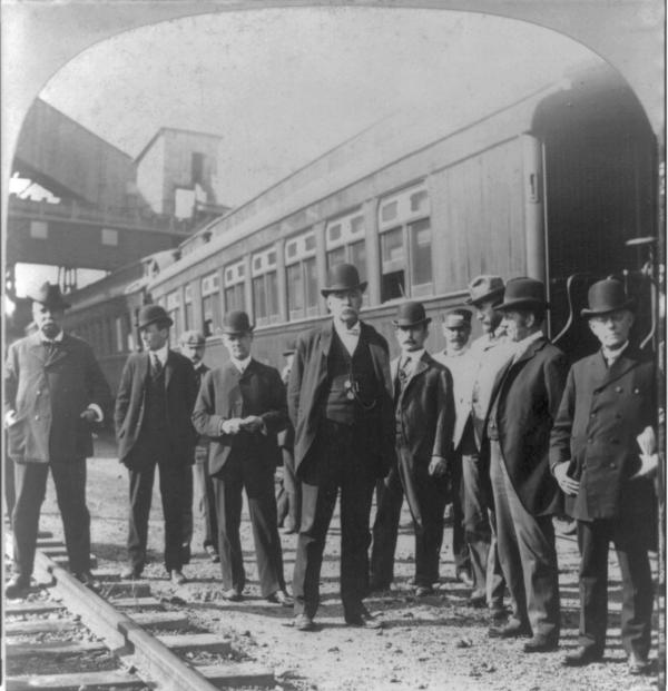 Group of men posed along train, anthracite strike, Pennsylvania.