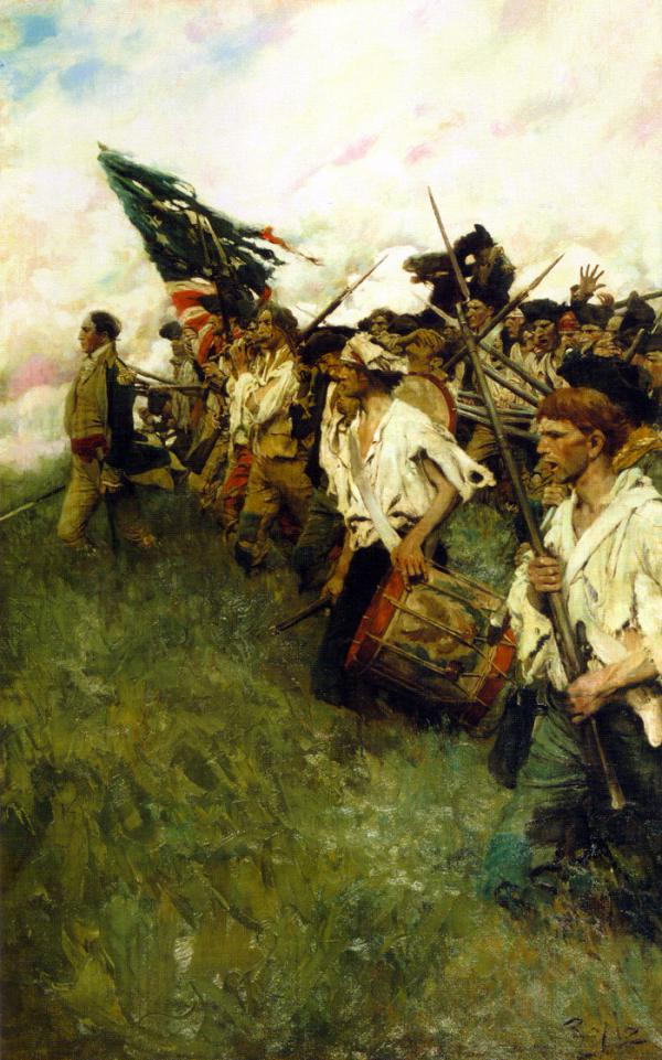 Bandaged and ragged soldiers carry a tattered American flag, a drum, and rifles as they advance forward upon the direction of their commander.