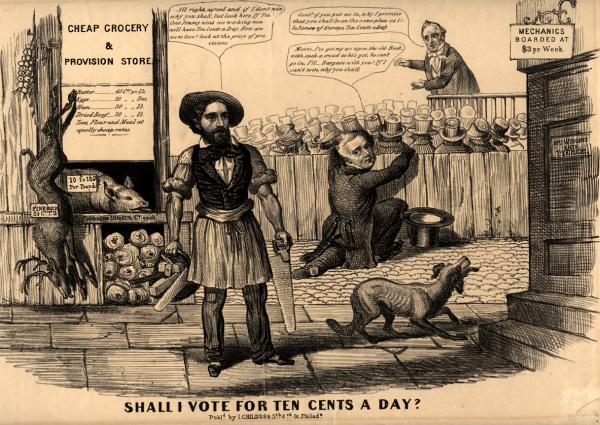 "A campaign parody somewhat favorable to Republican candidate John C. Fremont, but suggesting a conspiracy between Fremont and Millard Fillmore to defeat Democrat James Buchanan. Buchanan's nickname ""Ten Cent Jimmy"" was a derisive label applied to him by labor interests. In the background behind a fence Buchanan can be seen addressing a working-class gathering. ""Gent[leme]n,"" he harangues them, ""if you put me in, why I promise that you shall be on the same plan as the laborers of Europe, Ten Cents a Day."" Fillmore crouches this side of the fence, watching. Fremont, with a carpenter's tools and smock, and shirtsleeves rolled, stands in the foreground. Fillmore (aside, to Fremont): ""Monte, I've got my eye up on the old Buck–with such a crowd as he's got, he can't go in, I'll Bargain with you? If I can't win, why you shall."" Fremont: ""All right, agreed and if I don't win why you shall, but look here, If Ten Cent Jimmy wins we working men will have Ten Cents a Day. How are we to live? look at the price of provisions."" To the left is a ""Cheap grocery & provision store"" offering pork at ten to eighteen cents per pound, ""Fine Buck"" at two and a half cents, cabbages at ten to twelve and a half cents each, and other produce at equally high rates. At right is the boardinghouse of ""Mrs Woodbee Late Pierce"" (no doubt a disparaging reference to Democratic incumbent Franklin Pierce) offering rooms to mechanics at three dollars per week. A scrawny dog barks at the door."
