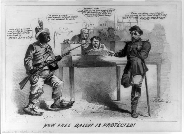"""The artist charges the Republicans with electoral corruption and extremism in their efforts to defeat Democratic presidential nominee George B. McClellan. Oblique reference is also made to Lincoln's supposed advocacy of equal rights for blacks. A ragged black soldier points a bayonet at a maimed white Union veteran, preventing him from placing his vote for McClellan in an already stuffed ballot box. The former says, """"Hallo dar! you cant put in dat you copperhead traitor, nor any oder 'cept for Massa Lincoln!!"""" McClellan ran on the Peace Democrat or Copperhead ticket. The one-legged, one-armed soldier replies, """"I am an American citizen and did not think I had fought and bled for this. Alas my country!"""" A worried election worker wearing spectacles tells his heavy-set colleague, """"Im afraid we shall have trouble if that soldier is not allowed to vote."""" But the second responds, """"Gammon, Hem just turn round. you must pretend you see nothing of the kind going on, and keep on counting your votes."""" Two townsmen converse in the background beneath a sign """"Vote Here."""""""