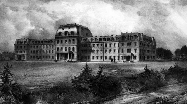Exterior and grounds. Main building of Swarthmore, now known as Parrish Hall, was the  original building when the college opened in 1869. This image is before the fire.