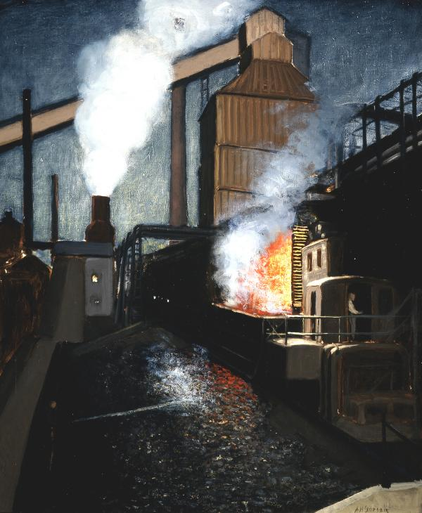 Dark image of an industrial plant displaying coal, fire, and smoke.