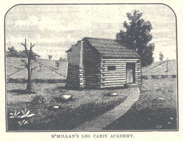 John McMillan's Log Cabin Academy, Washington County, PA, as it appeared in the early 1880s.
