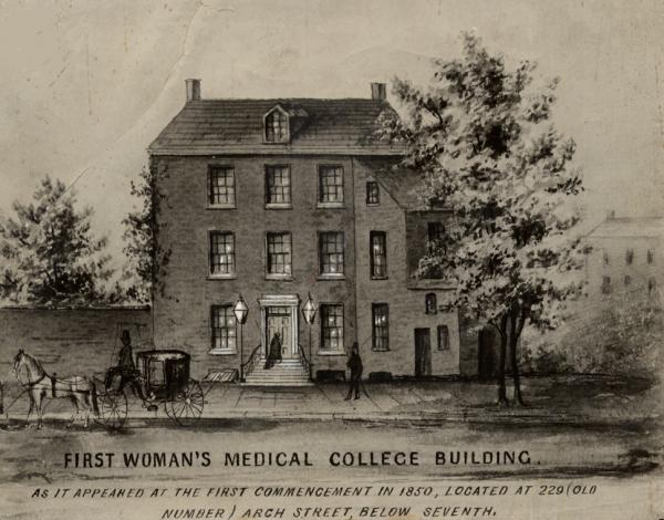 The first building to house the Female Medical College of Pennsylvania (later known as Woman's Medical College of Pennsylvania), founded in 1850.