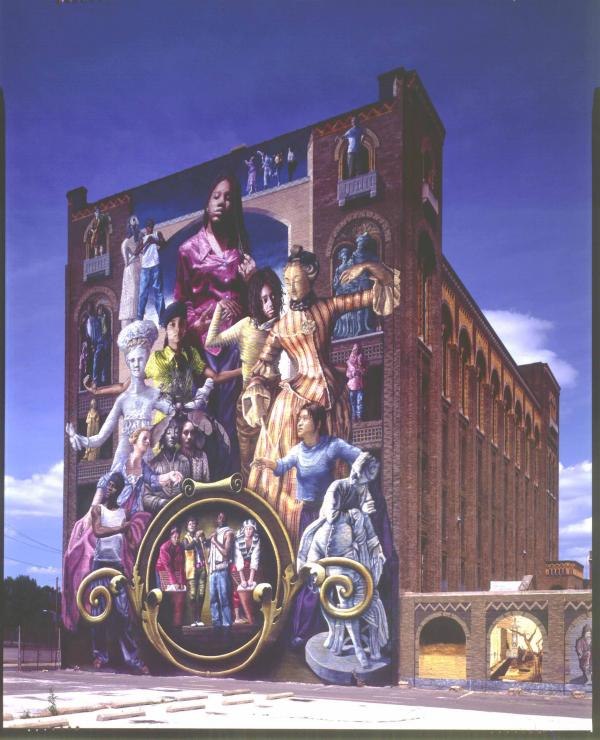 Towering eight stories high, this mural depicts a young girl in the center and the other figures in the composition are students from local Philadelphia high schools.
