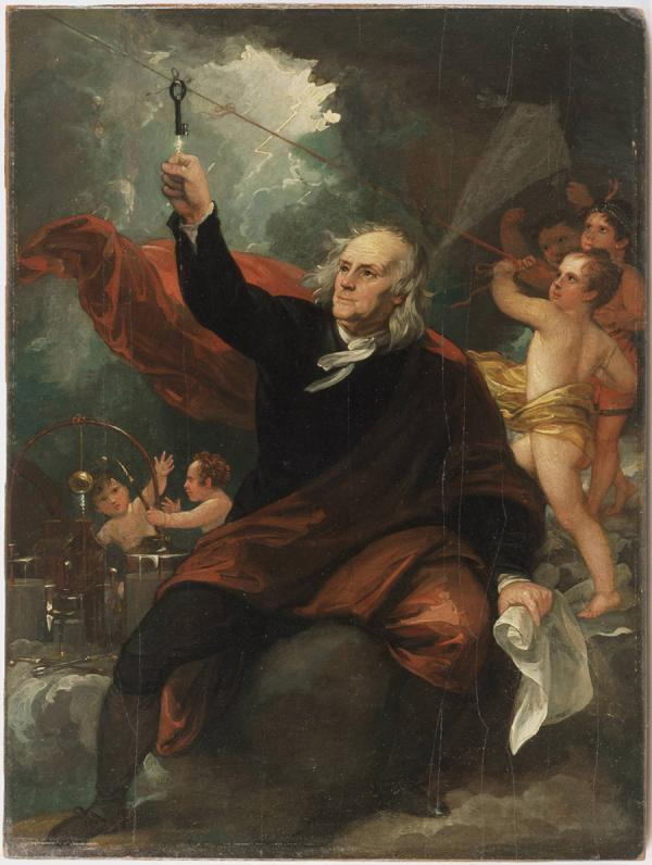 Benjamin Franklin is dressed in black with a red cape flowing across and behind him in this painting. He is shown drawing electricity from the sky into his outstretched hand. Angels assist him both by holding the string and guarding the bottles of electricity he has collected. One of the angels is depicted as a Native American.
