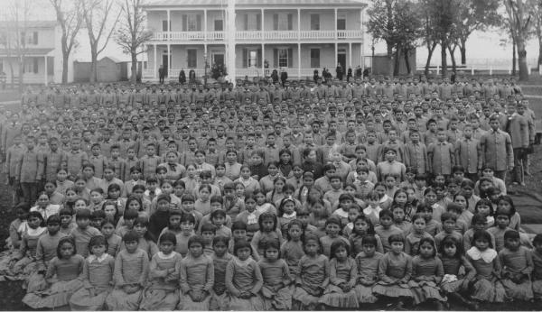 Group photograph of students at the Carlisle Indian School