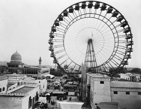 Ferris Wheel and general overhead view of part of Chicago's World's Columbian Exposition.
